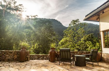 Bwindi Volcanoes Lodge has an extensive terrace area affording unforgettable opportunities to view birds and monkeys.