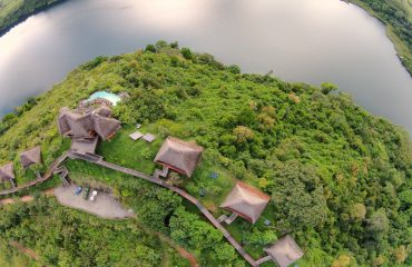 Kyaninga Lodge is a true eco-lodge expertly constructed and perfectly sited with views over the ancient volcanic crater.