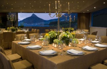 The dining area at The Twelve Apostles Hotel & Spa affords spectacular views of the Lions Head mountain peak in the distance