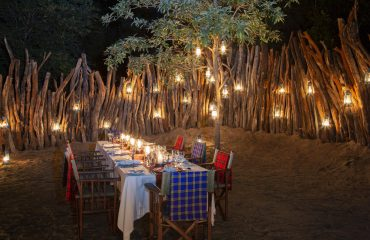 Listen to the sounds of the bush whilst enjoying dinner in BehoBeho's traditional Masai-style boma.