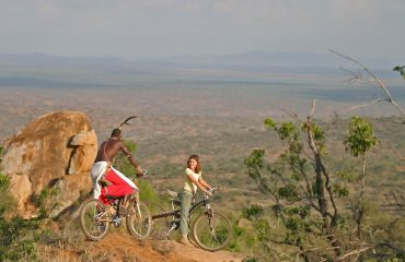 Mountain biking through the Loisaba Conservancy is an exhilarating experience