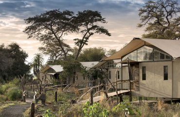 Each tented suite commands its own position on the banks of the Zambezi River.